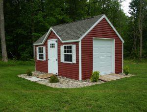 red shed, red barn, garden, workshop