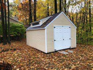 yellow shed, window, double door, garden shed