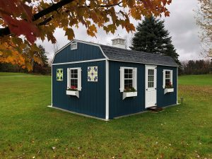 berkley, gambrel, blue shed, blue barn, playhouse, she-shed