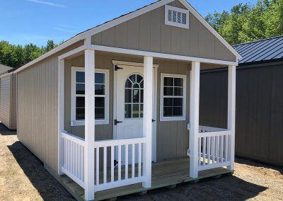 porch, grey shed, barn, playhouse, she-shed