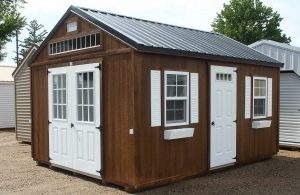 stained barn, brown, double doors, shed, garden, kingston