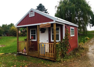 red shed, red barn, vines, porch, cute, portable.