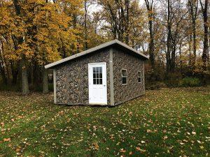 camo, new era, barn, metal, shed, hunting cabin