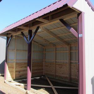 metal barn, run in, horse barn, burgundy, storage