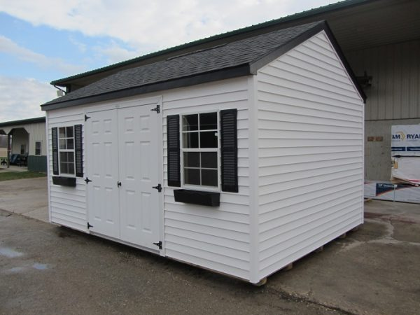 black and white storage shed